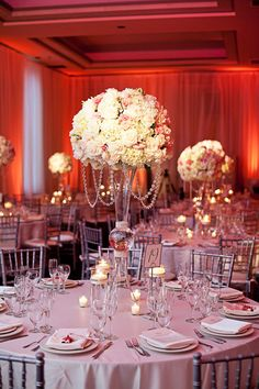 tall white & pale pink centerpieces with some bling | Evoke Photography