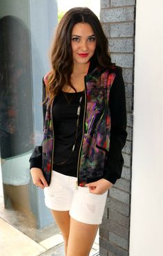 All clothing and accessories are from LIBERTÉ sold in-store only. Ted Baker TIRRIL Jacket $325, Cami $65, DL1961 Karliein Polar$103.