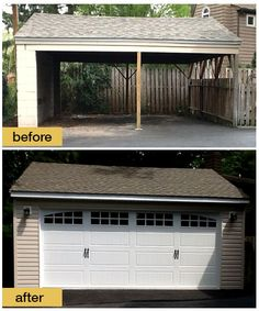 Converting to curb appeal - Replacing the carport with a fully enclosed garage significantly improved this home's appearance, not to mention the security. The choice of ‎Clopay‬ Gallery Collection steel carriage style garage door with arched windows scores extra credit for added charm. Installed by Suburban Overhead Doors in Media, PA. www.clopaydoor.com