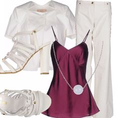 Il bianco insieme al porpora per un abbinamento elegante: pantaloni a campana da indossare sotto la giacca corta ad un bottone, top color porpora e sandali con tacco bianchi. La collana con pietra dura bianca impreziosisce il tutto.