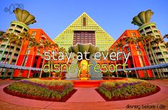 Stay at every Disney resort.  So far I have stayed at:  -The Wilderness Lodge  -The Animal Kingdom Lodge