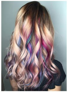 For a professional, yet fun look- all of the top layer and bottom are natural so that all of the color is hidden- when hair is curled into spirals, it lifts the colors to the top :) Ombre Pastel Hair, Bob Pastel, Grunge Pastel, Kids Hair Color, Hair Dye Colors, Cool Hair Color, Hair Colour, Style Rihanna, Unicorn Hair Color