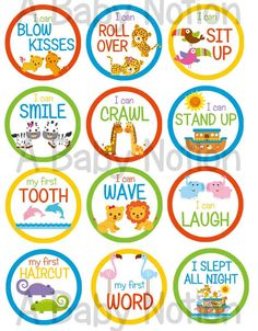 Noah's Ark milestone babys first stickers unisex by ABabyNotion