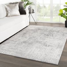Elmira Abstract Light Gray/ White Area Rug - (Light Grey/White - Juniper Home Grey And White Rug, Grey Rugs, Farm House Living Room, Juniper Home, Gray Rug Living Room, White Area Rug, Living Room Carpet, White Rug, Living Room Grey