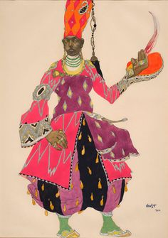 Léon Bakst (1866-1924). Schéhérazade, Costume design for Chief Eunuch, 1922. Watercolor, pencil and silver paint. Howard D. Rothschild. Framed storage. MS Thr 414.4 (20). Bequest, 1989.