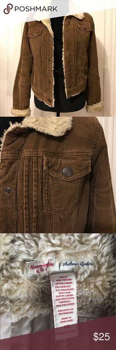 Vintage faux fur & brown corduroy jacket Vintage Abercrombie & Fitch faux fur & brown corduroy button down (snaps) jacket. Abercrombie & Fitch Jackets & Coats