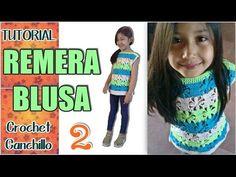 Como tejer Remera Blusa de verano, varios talles (2 de 3) - YouTube