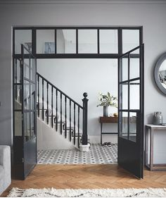 Crittall-style has been staging a comeback – and not just as windows and doors, but as walls, rear extensions, room dividers and even shower screens. The Doors, Windows And Doors, Iron Windows, Black Windows, Crittal Doors, Crittall Windows, Design Living Room, Room Doors, Hallway Decorating