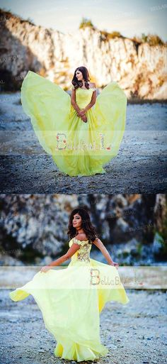 Long prom dress,Yellow Prom Dress, Off Shoulder Prom Dresses,Chiffon Prom Dresses,Lace Prom Dresses, PD21019