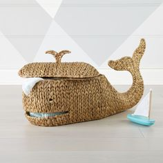 C&B Shop Whale Storage Basket. We've spotted a woven Whale Storage Basket unlike any other. This one prefers land over sea and has all the room you need to store toys and blankets. Sea Nursery, Whale Nursery, Nautical Nursery Decor, Nautical Baby, Nursery Ideas, Nautical Rope, Animal Nursery, Crate And Barrel, Kids Storage Bins
