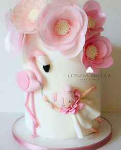 Flamingo cake with wafer paper flowers