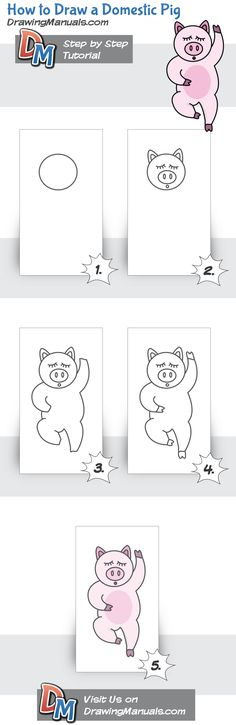 How to Draw a Pig Step-by-Step https://play.google.com/store/apps/details?id=com.aku.drawissimo https://itunes.apple.com/app/id1098056720