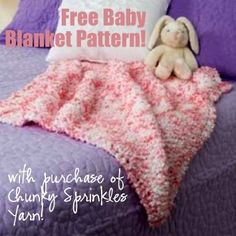 Cozy baby blanket knitting pattern, free with any purchase of Serenity Chunky Sprinkles yarn!