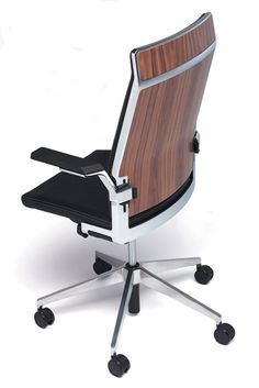 DIS work chair with headrest, wooden back