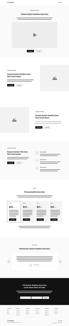 Clean Landing Page wireframe kit (and style guide) for a $99 Figma template called DesignKit. One Page Website, Wireframe, First Page, Website Template, Style Guides, Landing, Templates, Kit, Stencils