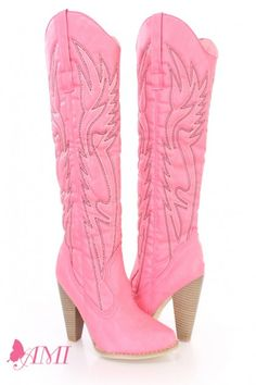 Pink Stitched Knee High Cowboy Boots Faux Leather