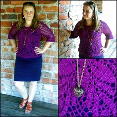 Purple crochet blouse with a circular motif.