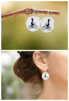 Lady on Bike Earrings Bicycle Earrings Picture by LadyArtTalk
