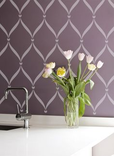 Stenciled walls using Royal Design Studio. GORGEOUS! Thanks @Tisha G Klingensmith