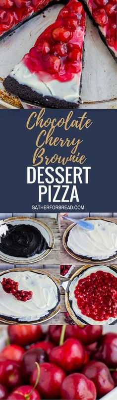 Chocolate Cherry Brownie Dessert Pizza - Cherry cheese dessert recipe with homemade brownies, fluffy cream cheese frosting and cherry pie filling for a sweet easy dessert. Cherry Desserts, Brownie Desserts, Kinds Of Desserts, Sweet Desserts, Brownie Recipes, Chocolate Desserts, Easy Desserts, Delicious Desserts, Dessert Recipes