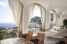 Capri Tiberio Palace Hotel on the island of Capri, Italy has a Regency style design and Mediterranean architecture. The hotel boasts 60 rooms including 17 renovated suites decorated in contemporary-chic with a Capri touch in the Sorrento, Home Design, Design Ideas, Villas, Exterior Design, Interior And Exterior, House Balcony Design, Mediterranean Architecture, Palace Hotel