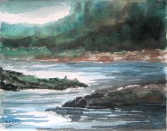 Watercolor Painting of Riverside Landscape
