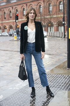 25 Cool Alexa Chung Outfits to Copy | velvet blazer, silk camisole, and cropped girlfriend jeans | Celebrity Street Style | @stylecaster (Sponsored)