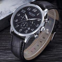 MEGIR watches men's luxury brand sports watch for men leather blet wristwatch waterproof erkek kol saati