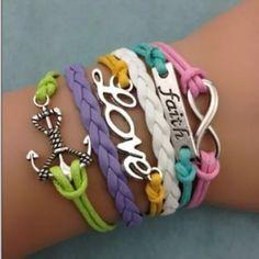 Religious faith pastel infinity bracelet anchor infinity bracelet $7. Or bundle 2/ $12 Jewelry Bracelets