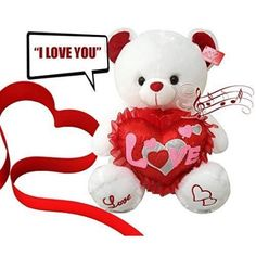 musical i love you teddy bear 13 inches tall you hear kissing sound then bear says i love you when paw is pressed valentines day gifts for wife