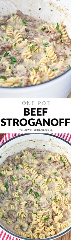 One Pot Creamy Ground Beef Strogonoff. Quick and easy. Couldn't stop sampling it as it was cooking! :).  Used low-fat sour cream which had good flavor at first then sort of melded into the dish and it wasn't as distinct. Good though! And easy to make!