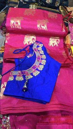 Kids Blouse Designs, Sari Blouse Designs, Blouse Patterns, Blouse Styles, Kalamkari Dresses, Maggam Work Designs, Wedding Embroidery, Saree Dress, Saree Blouse