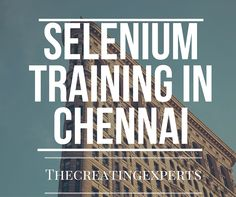 selenium testing is on high demand now. Learn Selenium for your better Career from TheCreatingExperts. Selenium Jobs are vacant. Click the below link for more details. http://thecreatingexperts.com/selenium-training-in-chennai/ Contact : 8122241286