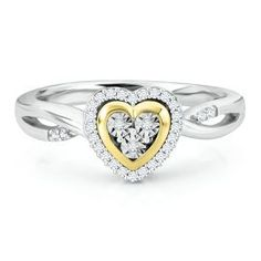 1/10ct TW Heart Diamond Ring in Sterling Silver & 14K Gold - Promise Rings - Rings - Jewelry - Helzberg Diamonds
