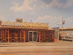 Austin BBQ Postcard Circa Late 50's Early 60's. Hampton and Illinois Oak Cliff (Dallas). Gone now :(