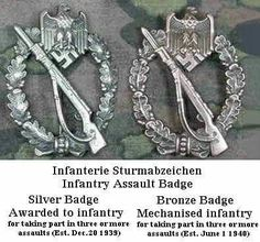 Infantry Assault Badge . Silver and Bronze