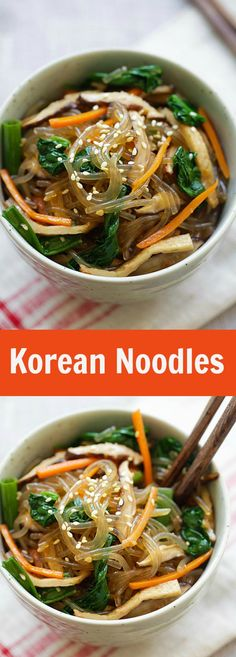 Japchae - Korean noodle dish with sweet potato noodles and vegetables. Learn how to make vegetarian Japchae in 30 minutes with this easy Japchae recipe. Bulgogi, Asian Recipes, Healthy Recipes, Ethnic Recipes, Delicious Recipes, Easy Korean Recipes, Healthy Food, Tasty, Yummy Food