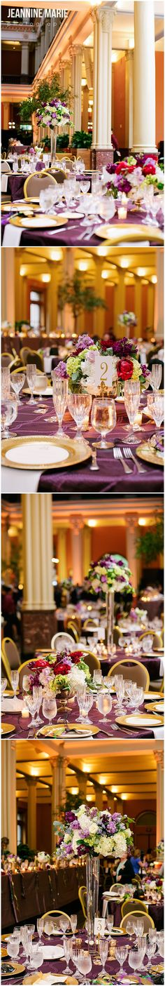 Beautiful wedding reception at the Landmark Center in St. Paul, MN photographed by Minnesota wedding photographer Jeannine Marie Photography #landmarkcenter #weddings #weddingreception #centerpieces #elegantcenterpieces #floralcenterpieces #sadiescouturefloral #lineneffects #bestdayeverweddings #weddingguesttables #weddingcenterpieces #minneapolisweddingphotographer #jeanninemariephotography