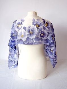 Silk scarf Pansy - hand painted scarf - violet scarf - purple scarf - pansy scarf - pansy silk scarves - spring scarf - flower scarf foulard
