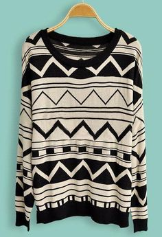 Black Beige Long Sleeve Geometric Print Pullovers Sweater
