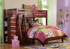 These strong, sturdy and stylish L Shaped Bunk Beds with dresser brings a new dimension to solid wood bedroom furniture for your kids and teens!. A warm and rich Merlot lacquered finish on solid wood