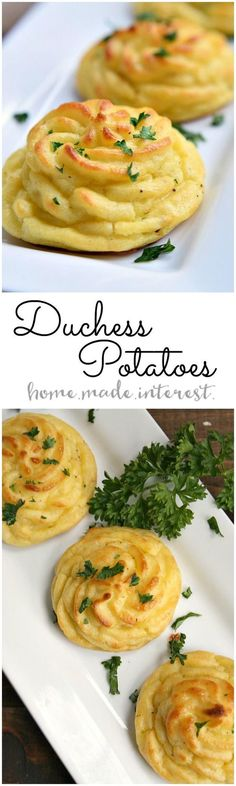 Duchess potatoes are an easy way to make mashed potatoes into something fancy. This duchess potatoes are a beautiful Thanksgiving side dish recipe that will impress your guests. Make these duchess potatoes for your Thanksgiving dinner! Potato Dishes, Potato Recipes, Food Dishes, Main Dishes, Side Dishes, Duchess Potatoes, Snacks, Dinner Menu, Dinner Dishes