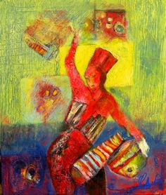 Lynne Mettam Parade Drummer - Mixed Media acrylic, gesso, ink and coloured papers - $50.00