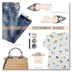 """""""Double Take: Statement Shoes ... 2017"""" by greta-martin ❤ liked on Polyvore featuring Nudie Jeans Co., Être Cécile, Fendi, Bare Escentuals, Chloé, contestentry and statementshoes"""