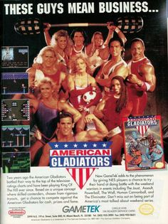 2 24 by 36 inch AMERICAN GLADIATORS 80s 90s Poster TV Movie Photo Poster