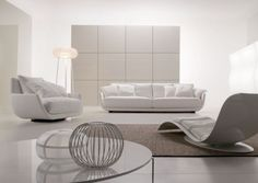 Modern White Sectional Sofa Design With White Arm Chair And Small White Pillows Also White Wall Paint Color And Cool Carpet White Leather Sofas, Best Leather Sofa, Black Leather, White Sofas, Sofa Design, Interior Design, White Sectional Sofa, Modern Sectional, Luxury Furniture Stores