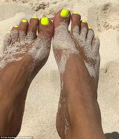 Bright toes: Kim shared this shot of her feet, captioned, 'Neon nails for vacay! Bright Toe Nails, Neon Toe Nails, Yellow Toe Nails, Bright Summer Nails, Toe Nail Color, Summer Toe Nails, Feet Nails, Beach Toe Nails, Toenails