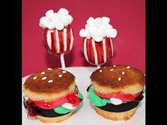 Cupcakes de hamburguesas y cake pops de palomitas