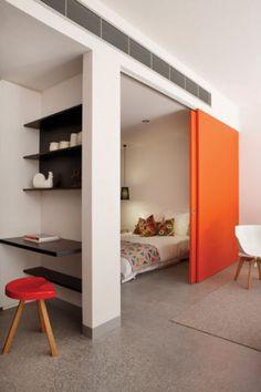 a hidden bedroom with sliding door