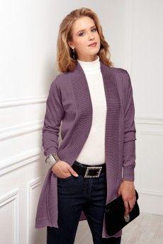 Le gilet long bord à bord violette en laine Cashwool®. Maille de fabrication française.
